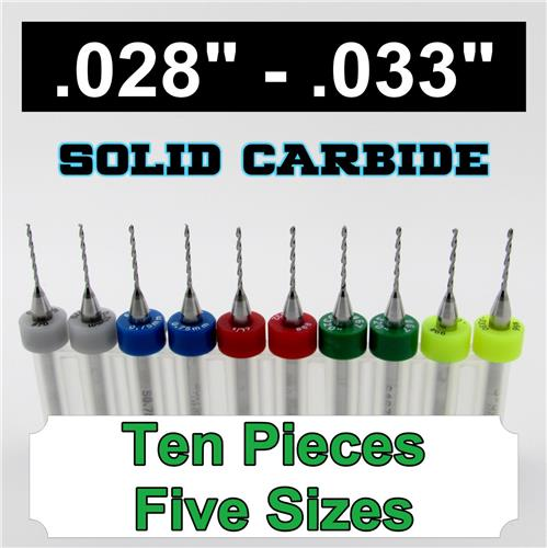 "Two Pieces Each: .028"" .0292"" .031"" .032"" .033"" - Carbide Drills S5"