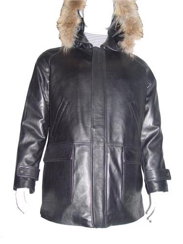 2024 Mens Black Hooded Leather Coat The Parka Fox Fur Trim Larger