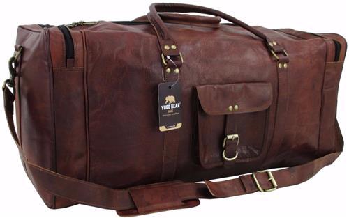 Yuge Bear 28 Ds3 Vtg Genuine Leather Duffel Weekender Xl Large Travel Gym Bag