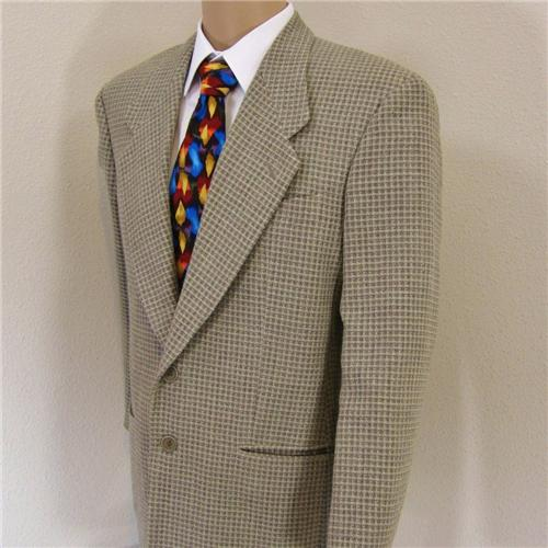 39 S Giorgio Armani Italy Beige Linen Plaid Tweed Mens Jacket Sport Coat Blazer