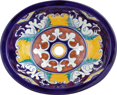 Lavabos Para Baño De Talavera:lavabo de bano: lavadero ovalin en talavera majolica – mexico rustico