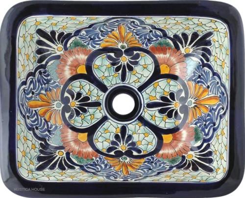 Baños Rusticos De Talavera: en talavera: lavabo pintado a mano rectangular – mexico rustico
