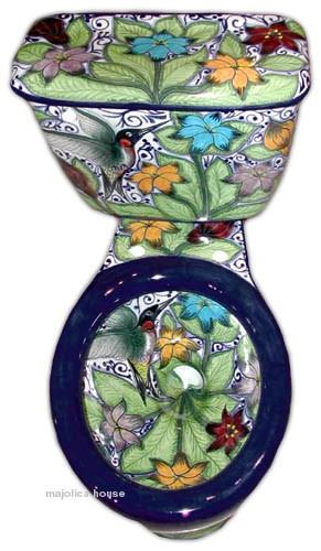 Baños Rusticos De Talavera:Hand Painted Mexican Toilet