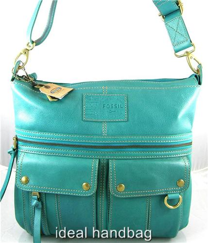 FOSSIL MACY LEATHER BLUE GREEN TURQUOISE SLING MESSENGER CROSSBODY BAG