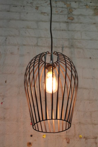 Wire Cage Light-Black-Pendant Light Fixture with Vintage Style Braided Cord-2