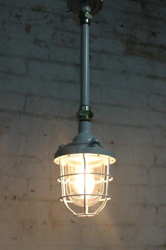 cage light industrial pendant ceiling pole pendant. Black Bedroom Furniture Sets. Home Design Ideas