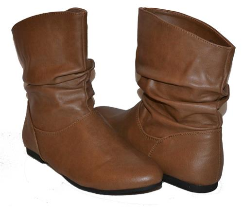 Womens LIGHT BROWN Slouch Ankle Boots Booties Pull On Winter FLATS ...