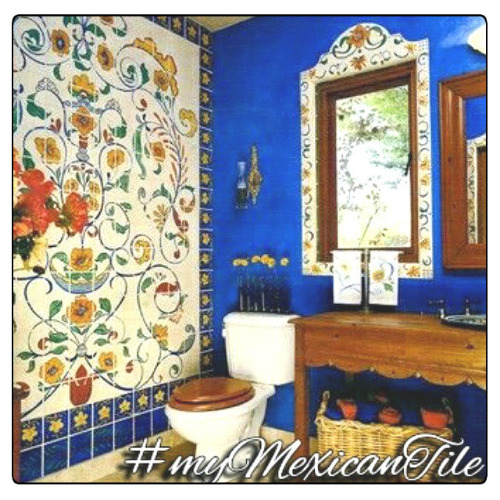mexican tile hand painted toilet
