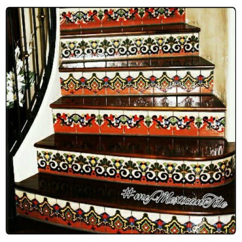 hand painted tiles from Mexico for stairs