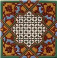 Artisan Produced Relief Tile Brown Flowers