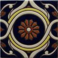 Hand Painted Relief Tile Dalia Flower