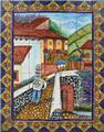 old European ceramic tile mural