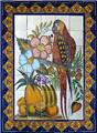 ceramic tile mural Flowers and Parrot