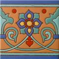 hand painted relief tiles Blue Center Flower