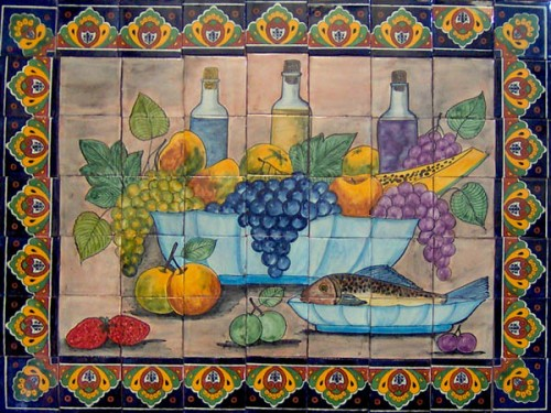 Mexican tile murals kitchen tiles mexican tiles - Mural de azulejos ...