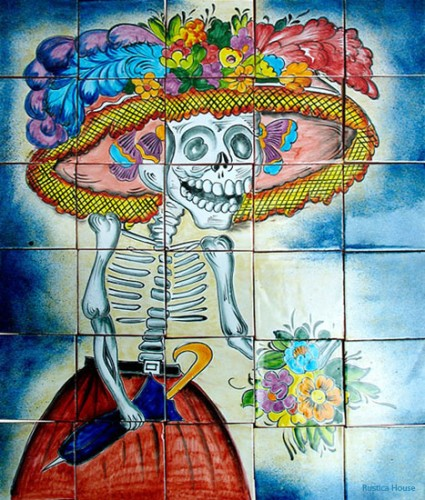 Mexican tile backsplash day of the dead mural mexican for Day of the dead mural