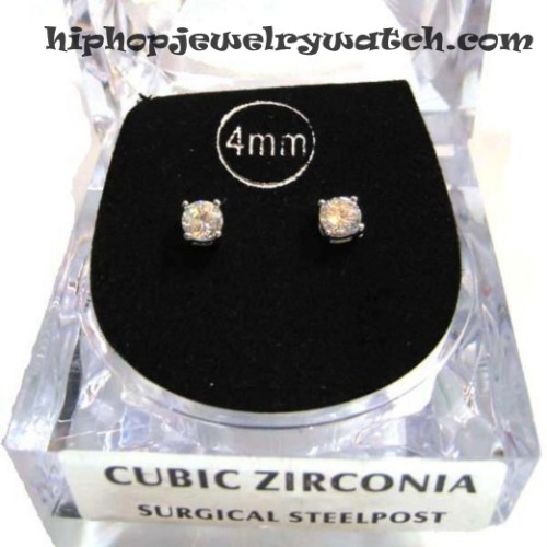 NEW CHRIS BROWN MEN'S 4mm CUBIC ZIRCONIA RD STUD EARRING 14k PT