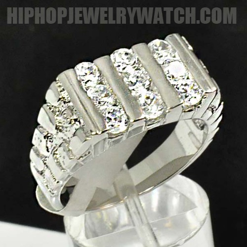 Mens Silver Rhodium Plated Fancy Bling CZ Iced Out Hip Hop Ring