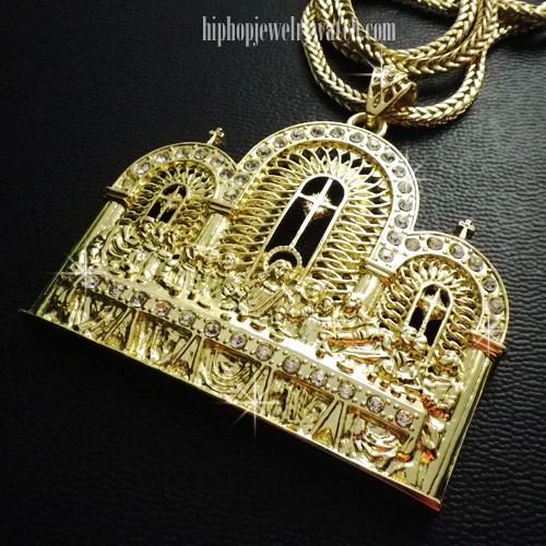 "JUMBO GOLD ""Last Supper"" Hip Hop CZ Pendant W/ 36"" Chain #JLP-LSR-G"