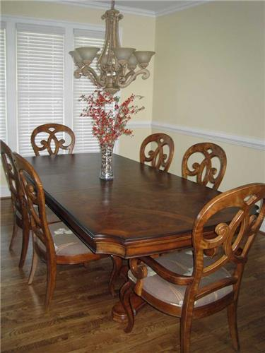 Thomasville Furniture Rivage Dining Room Double Pedestal Table W Custom Base
