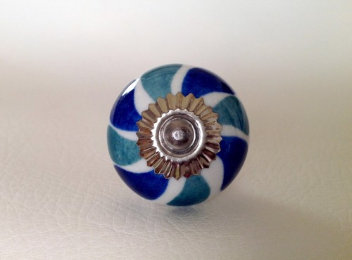 Mixed Teal Blue Green On White Porcelain Cabinet Knobs