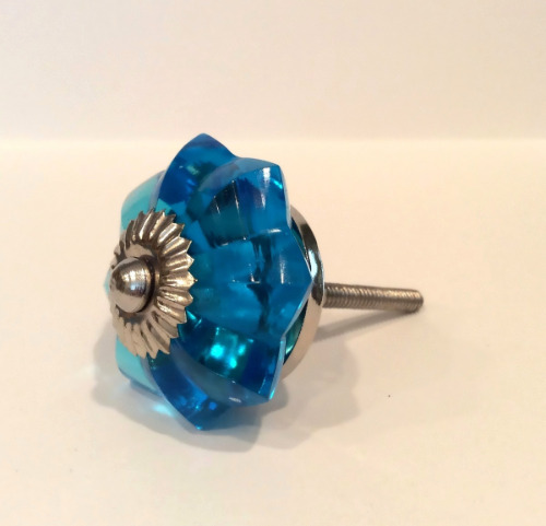 Turquoise blue glass flower cabinet knobs dresser drawer for Turquoise cabinet pulls