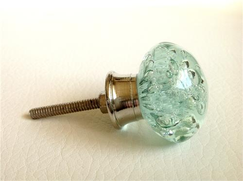 Mint green sea glass bubble cabinet knobs dresser drawer for Small cabinet pulls