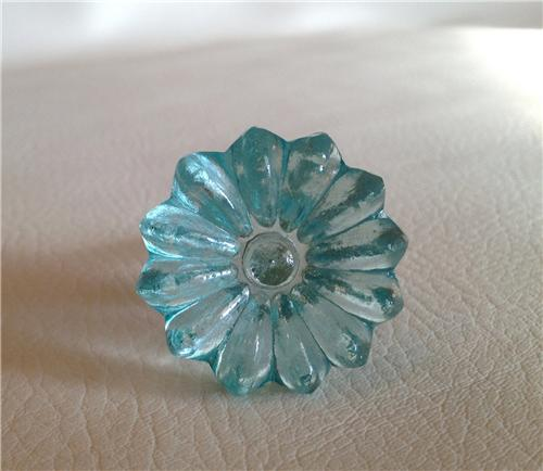 Aqua Blue Glass Daisy Kitchen Cabinet Hardware Knobs Drawer Pulls