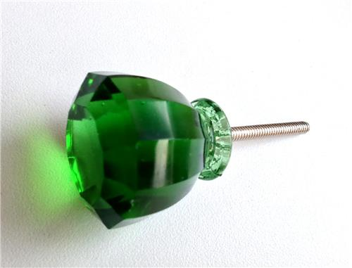 Green Glass Cabinet Knobs And Drawer Pulls: Antique Vintage Emerald Green Glass Crystal Cabinet Knobs