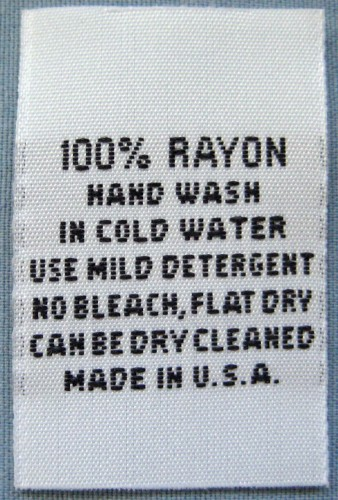 003: 100 pcs WHITE WOVEN CLOTHING LABELS, CARE LABEL, 100% RAYON ...