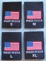 BLACK AMERICAN FLAG, - MADE IN U.S.A., RED WHITE & BLUE CLOTHING LABELS -  S, M, L, XL