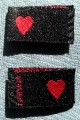 100 pcs WOVEN CLOTHING LABELS, SIZE TAGS - RED HEART