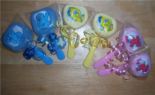baby shower sesame street washcloth lollipops