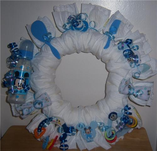 baby shower mickey mouse diaper wreath