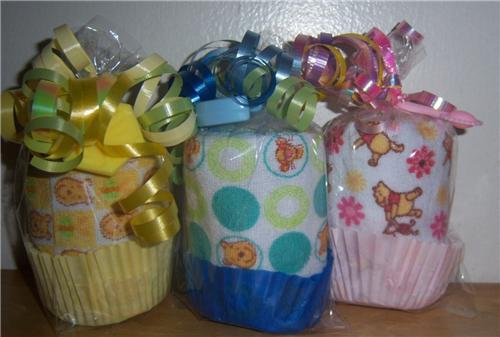 winnie the pooh washcloth cupcake baby shower favor