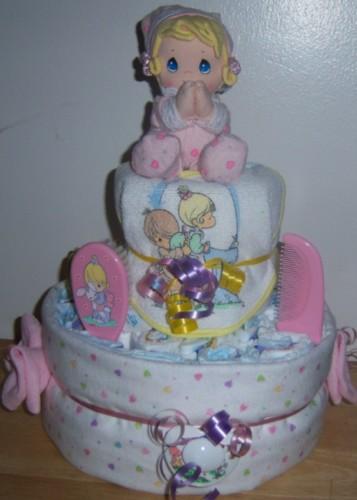 baby shower 2 tier precious moments diaper cake