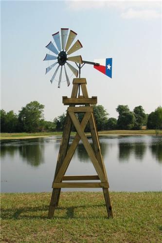 11' Lonestar Decorative Windmill With Texas Flag Rudder - Davids E ...