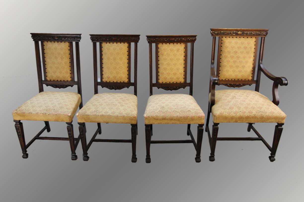 Antique Set Of Four Oak Carved Dining Room Kitchen Chairs *REDUCED. Full resolution  portraiture, nominally Width 1224 Height 816 pixels, portraiture with #926F39.