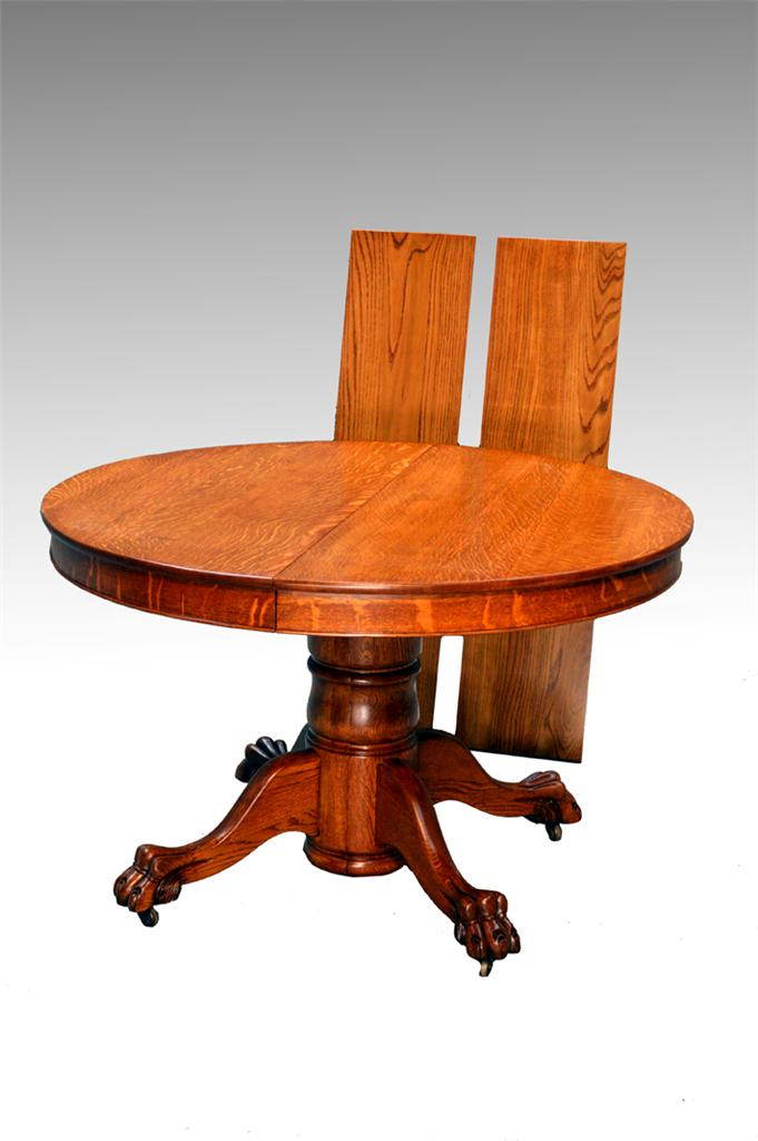 16729 antique tiger sawn oak 4 foot round split base for 6 foot round dining table