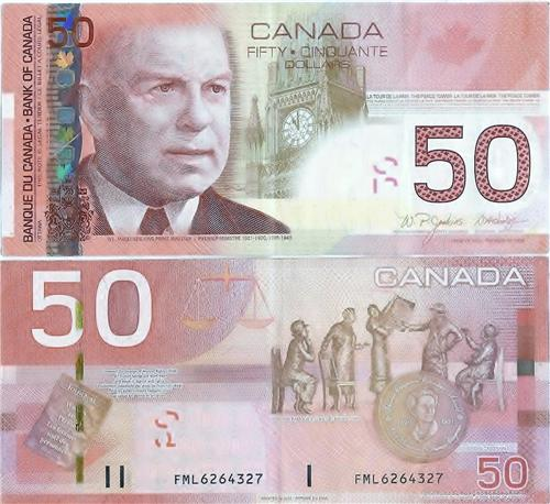 CANADIAN 50 DOLLAR BILL GLOSSY POSTER PICTURE PHOTO money currency ...