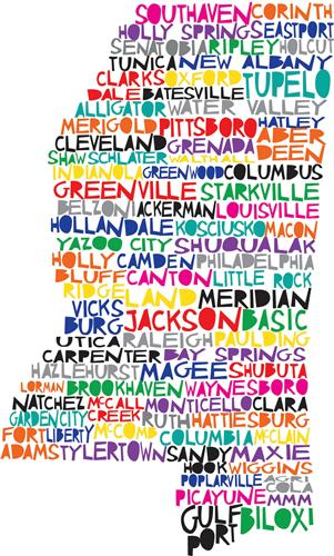 MISSISSIPPI CITY NAMES MAP GLOSSY POSTER PICTURE PHOTO words cool ...