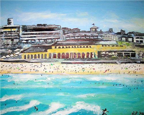 'Bondi Pavilion' Ink/Acrylic on canvas 50X40cms Gill Fahey Australian Artist