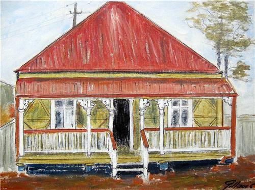 'Qld Worker's Cottage' Original Artwork 40X30cms by Aussie Artist Gill Fahey