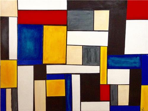 "Geometric Contemporary Ink/Acrylic Abstract 91x122cms/36""x48"" Gill Fahey"