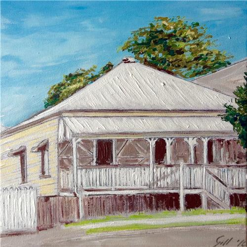 'Highgate Hill Queenslander' Ink/acrylic/graphite Artwork  30x30 cms Gill Fahey