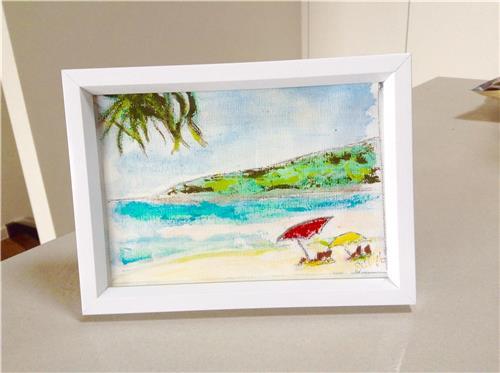 Framed 'Noosa Beach' Ink/Acrylic  18.5 x 13.5cms Brisbane Artist Gill Fahey