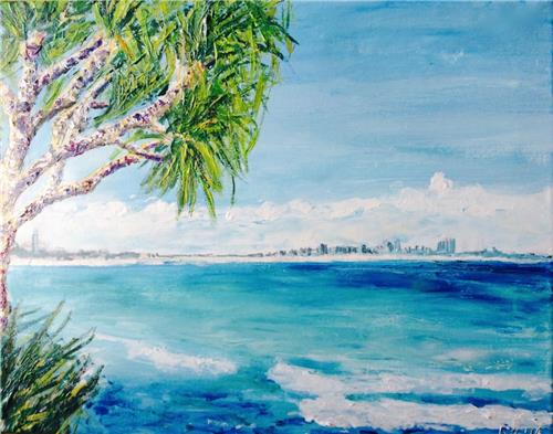 'Burleigh Heads Views' Acrylic Painting on Canvas by Brisbane Artist G Fahey