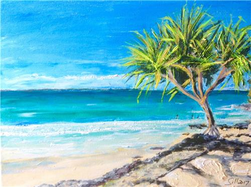 'Love the Sunshine Coast' Ink/Acrylic Painting on Canvas/ Artist Gill Fahey