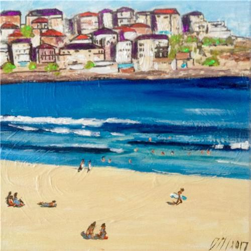 'Bondi Views' Ink/Acrylic Painting on Canvas/ Artist Gill Fahey