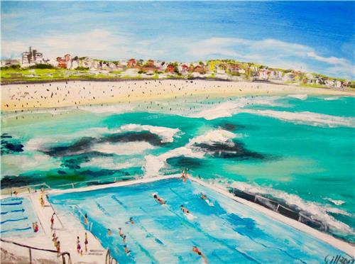 'Original painting on canvas 'Bondi Icebergs' by Aussie Artist Gillian Fahey